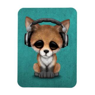 Cute Baby Fox Dj Wearing Headphones on Blue Magnet
