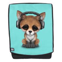 Cute Baby Fox Wearing Headphones Backpack