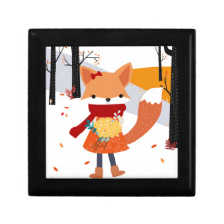 Cute baby fox wolf girl in happy time jewelry box