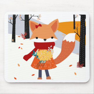 Cute baby fox wolf girl in happy time mouse pad