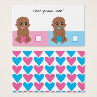 Cute Baby Gender Reveal Ballot Vote Card Ethnic