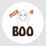 Cute Baby Ghost Peek A Boo Round Stickers