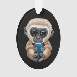 Cute Baby Gibbon Holding a Cell Phone Black