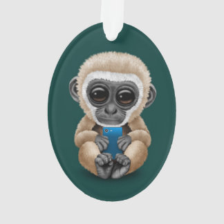 Cute Baby Gibbon Holding a Cell Phone Teal Ornament