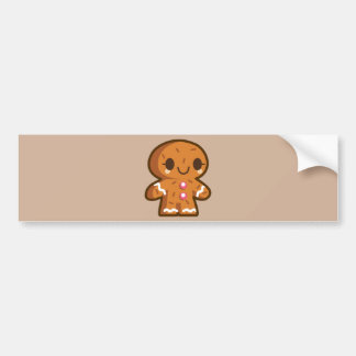 CUTE BABY GINGERBREAD CARTOON GRAPHIC LOGO YUMMY T BUMPER STICKER