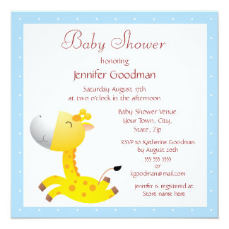 Cute Baby Giraffe Blue Baby Shower Personalized Announcements