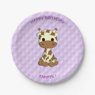 Cute baby giraffe cartoon birthday kids paper plate