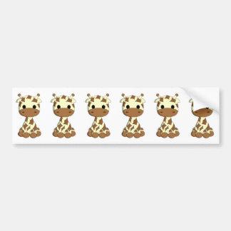 Cute baby giraffe cartoon bumper sticker
