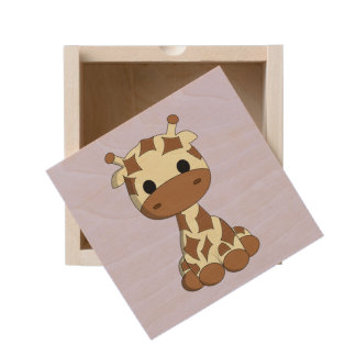 Cute baby giraffe cartoon kids wooden keepsake box