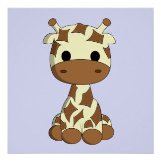 Cute baby giraffe cartoon nursery poster