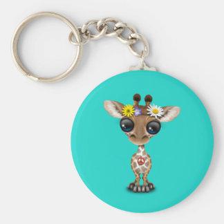 Cute Baby Giraffe Hippie Keychain