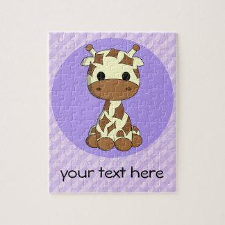 Cute baby giraffe kawaii cartoon custom girls jigsaw puzzle