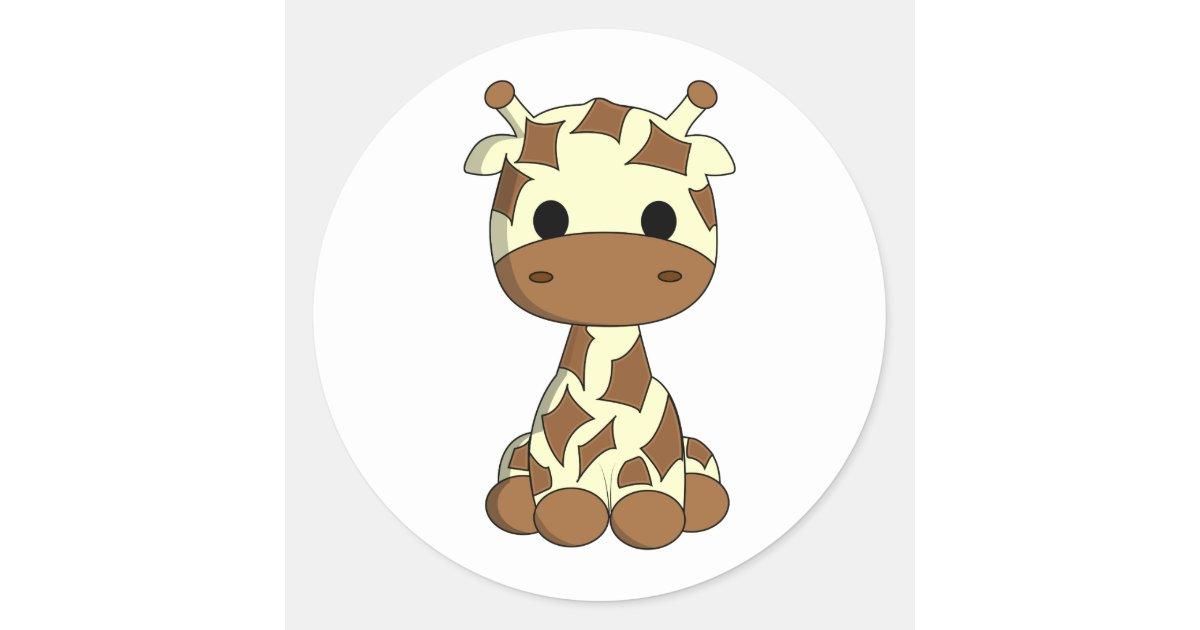 Cute Baby Giraffe Kawaii Cartoon Kids Stickers Zazzle Com