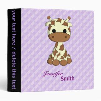 Cute baby giraffe kawaii cartoon name girls binder