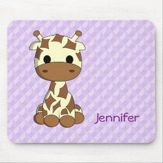 Cute baby giraffe kawaii cartoon name girls mouse pad