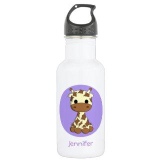 Cute baby giraffe kawaii cartoon name water bottle