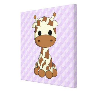 Cute baby giraffe kawaii cartoon nursery canvas