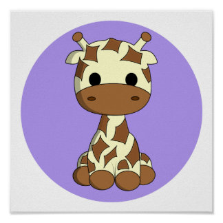Cute baby giraffe kawaii cartoon nursery poster