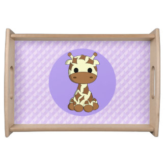 Cute baby giraffe kawaii cartoon serving tray