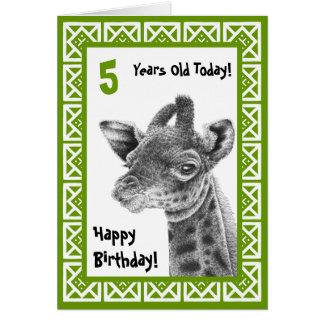 Cute Baby Giraffe Kids Birthday Card