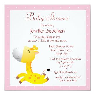 Cute Baby Giraffe Pink Baby Shower Card