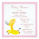 "Cute Baby Giraffe Pink Baby Shower 5.25"" Square Invitation Card"