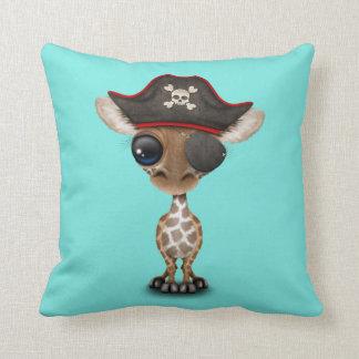 Cute Baby Giraffe Pirate Throw Pillow