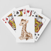 Cute Baby Giraffe Playing Cards