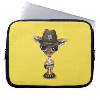 Cute Baby Giraffe Sheriff Laptop Sleeve