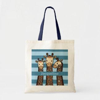 Cute Baby Giraffe Trio Add Child s Name Canvas Bag