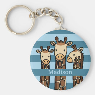 Cute Baby Giraffe Trio, Add Child's Name Basic Round Button Keychain