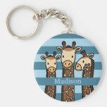 Cute Baby Giraffe Trio, Add Child's Name Basic Round Button Keychain