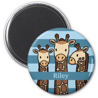 Cute Baby Giraffe Trio, Add Child's Name Magnet