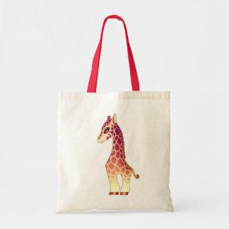 Cute baby giraffe with big eyes tote bag