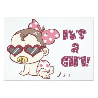 "Cute Baby Girl Baby Shower Invitation Card 5"" X 7"" Invitation Card"