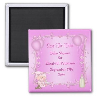 Cute Baby Girl Baby Shower Save The Date Magnets