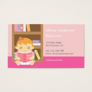 Cute Baby Girl Babysitting Business Cards
