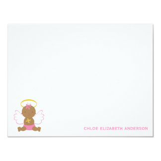 Cute Baby Girl Baptism Thank You Notes Card