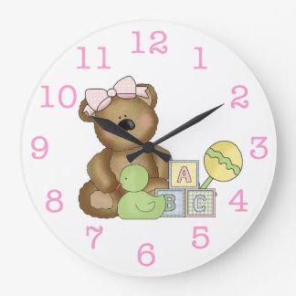 Cute Baby Girl Bear in Pink Bow+Rattle/Duck Large Clock