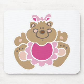 cute baby girl bear mouse pad