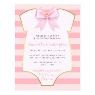 Cute Baby Girl Blush Pink Bow & Gold Baby Shower Postcard