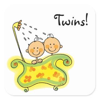 Cute baby girl & boy twins square sticker