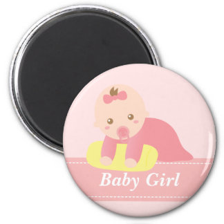Cute Baby Girl Crawling with Pillow 2 Inch Round Magnet