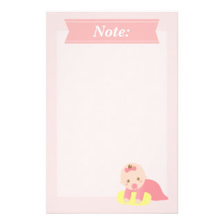Cute Baby Girl Crawling with Pillow Stationery