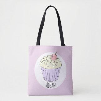 Cute Baby Girl Cupcake Muffin with Name Diaper Tote Bag