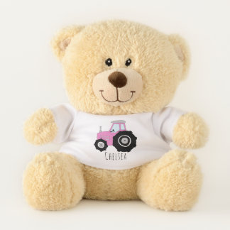 Cute Baby Girl Doodle Pink Farm Tractor with Name Teddy Bear