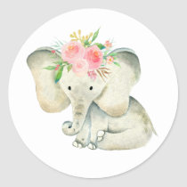Cute Baby Girl Elephant with Flowers Classic Round Sticker