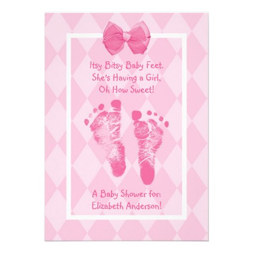 Cute baby girl footprints baby shower pink ribbon 5x7 paper invitation