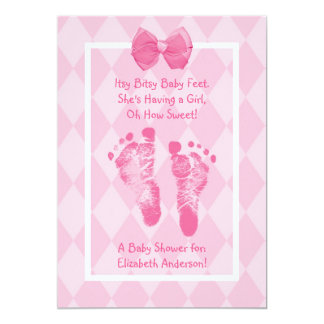 "Cute Baby Girl Footprints Baby Shower Pink Ribbon 5"" X 7"" Invitation Card"