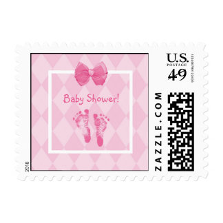 Cute Baby Girl Footprints Baby Shower Pink Ribbon Stamps